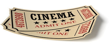 Pair of retro vintage cinema tickets with shadow. Vintage retro cinema creative concept: pair of vintage retro cinema admit one tickets made of yellow textured Stock Photo