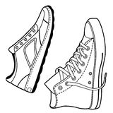 Pair right black outlined sneakers shoes Stock Photography