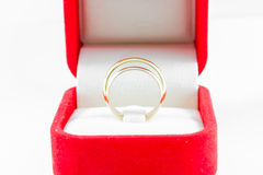 Pair ring in a gift red box Stock Photos