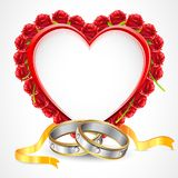 Pair of Rings with Rose Heart Stock Photos