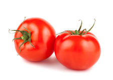 Pair of ripe red tomatoes Stock Images