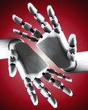 Pair Of Robo Hands 7. A conceptual image of some robot hands, it would be a good image for technology concepts Stock Image