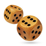 A pair of rolling dices on white Stock Photography