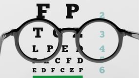 Pair of round-lens eyeglasses with clear eyesight test Stock Image