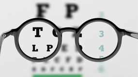 Pair of round-lens eyeglasses with eyesight test Royalty Free Stock Photography