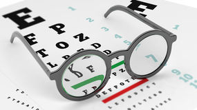 Pair of round-lens eyeglasses set on eyesight test Stock Photos