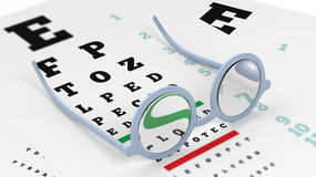 Pair of round-lens eyeglasses set on eyesight test Stock Photography