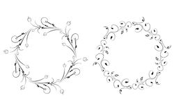 Pair of round vintage floral frames for your design. Vector illustration Royalty Free Stock Photo