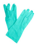 Pair of Rubber latex green glove over white isolated background Stock Images