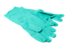 Pair of Rubber latex green glove over white isolated background Stock Photos