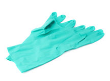 Pair of Rubber latex green glove over white isolated background Royalty Free Stock Image