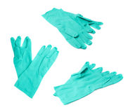 Pair of Rubber latex green glove over white isolated background Royalty Free Stock Photos