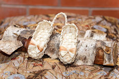 Pair of Russian souvenir wicker shoes for children on birch log. Indoors stock photos
