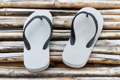 A pair of sandal on bamboo Stock Images