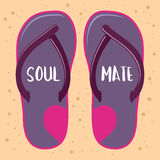 Pair of Sandals With Soul Mate Text Royalty Free Stock Photography