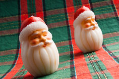 A pair of Santa Candle Stock Photo