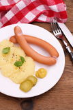 Pair of sausage with mashed potatoes, mustard Royalty Free Stock Photos