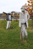 Pair of scarecrows mada of old clothing Royalty Free Stock Photo