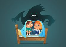 Pair of scared children sitting on bed and hiding from frightening ghost under blanket. Fearful kids and imaginary. Monster. Cartoon characters isolated on vector illustration
