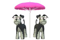 A pair of Schnauzer dogs wearing cats shaped shades standing under a big pink beach umbrella royalty free stock image