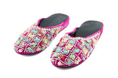 Pair of sequin slippers Royalty Free Stock Photography