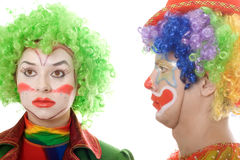 Pair of serious clowns. Portrait of a pair of serious clowns Royalty Free Stock Photos