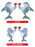 A pair of shark s and a pair of dolphin s giving a toast. Cheers. A pair of sharks and a pair of dolphins giving a toast. Cheers! Happy Holidays! Cartoon styled Stock Photo
