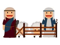 Pair of shepherds. With sheeps, Vector illustration Royalty Free Stock Photo