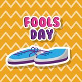 Pair shoe with tied laces prank fools day. Vector illustration Royalty Free Stock Image