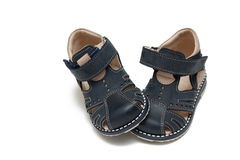 Pair of shoes. Children`s pair of shoes. The first boots Royalty Free Stock Photo