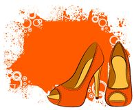 Pair of shoes with high heel Stock Image