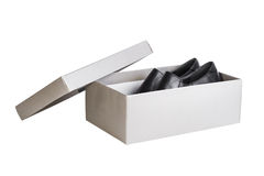 Pair shoes in shoebox, isolated Stock Images