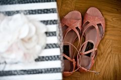 A pair of shoes and a weeding gift stock photography