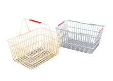 Pair of shopping baskets isolated on white background. 3d render Royalty Free Stock Image