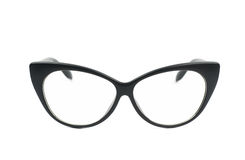 Pair of sight glasses isolated. Pair of black plastic sight glasses isolated over the white background Royalty Free Stock Photos