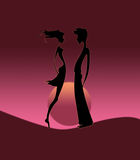 Pair silhouette on sunrise. Silhouette of a pair on sunrise Stock Photography