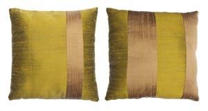 Pair of Silk Pillows. Pair of Striped Silk Decor Pillows stock photo