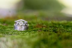 Pair of Silver-colored Wedding Rings Selective Focus Photography royalty free stock photography