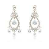 Pair of silver diamond earrings isolated on white Royalty Free Stock Photos