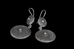 Pair of silver earrings Royalty Free Stock Photography
