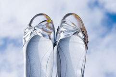 Pair of silver shoes Royalty Free Stock Images