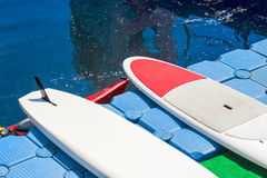 A pair of single stand up paddle in a row 01 Royalty Free Stock Photos