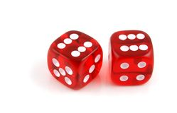 Pair of Sixes. 2 Dice close up- Pair of Sixes Royalty Free Stock Images