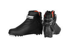 Pair of ski boots black colours. Royalty Free Stock Image