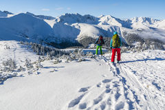 Pair of skiers in the winter in the mountains. Royalty Free Stock Image