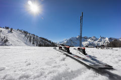Pair of skis on slope in the snow Royalty Free Stock Photos