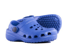 Pair of slippers made ​​of plastic. Royalty Free Stock Photo