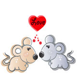 Pair of small mouses in love. Mouses symbol of love, passion. happiness Royalty Free Stock Photography