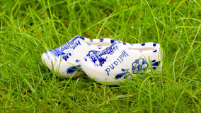 Pair of small porcelain clogs from Holland Stock Images