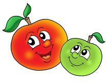 Pair of smiling apples. Color illustration Royalty Free Stock Photos